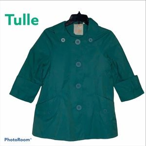 Tulle Button Down Raincoat Color Teal Size XS